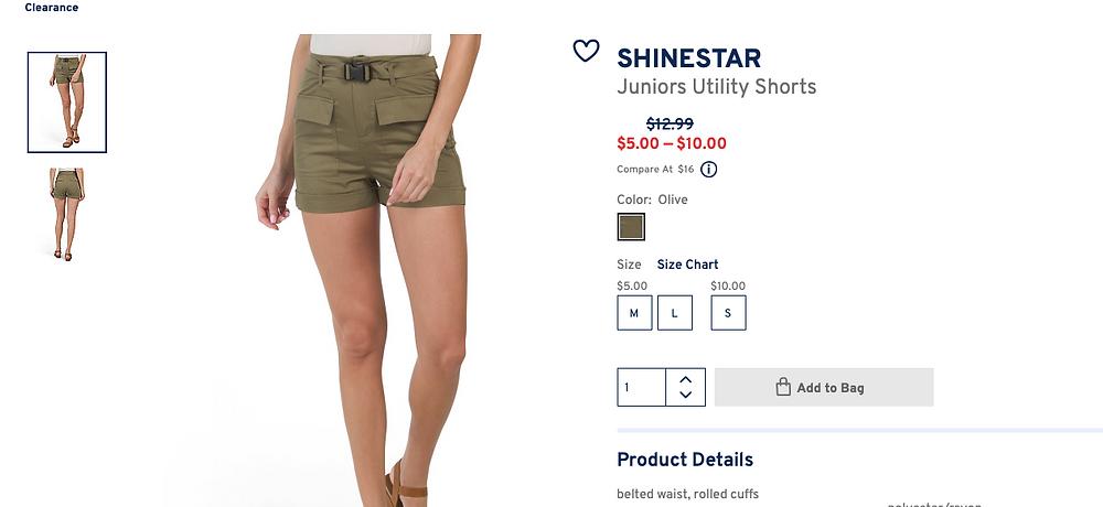 SHINESTAR Juniors Utility Shorts $5.00 — $10.00