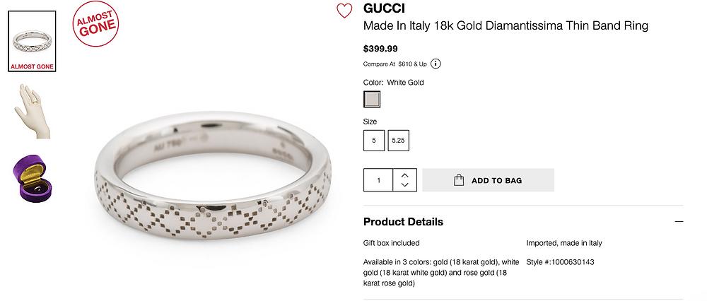 GUCCI Made In Italy 18k Gold Diamantissima Thin Band Ring