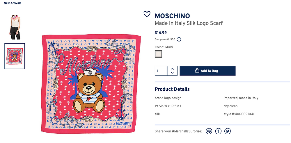 MOSCHINO Made In Italy Silk Logo Scarf  $16.99