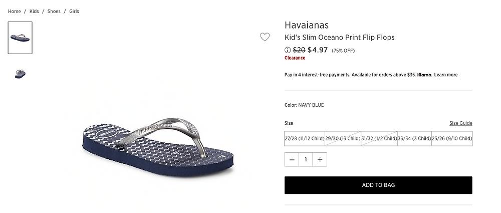 Havaianas Kid's Slim Oceano Print Flip Flops $4.97 (75% OFF)