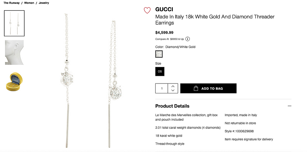 GUCCI Made In Italy 18k White Gold And Diamond Threader Earrings $4,599.99 Compare At  $6950 & Up