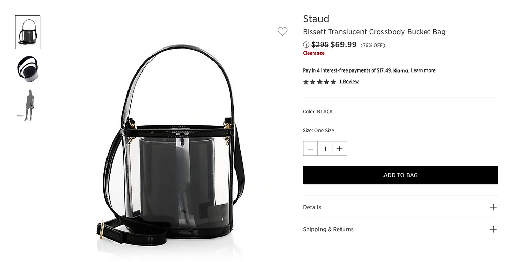 Bissett Translucent Crossbody Bucket Bag  $69.99 (76% OFF)
