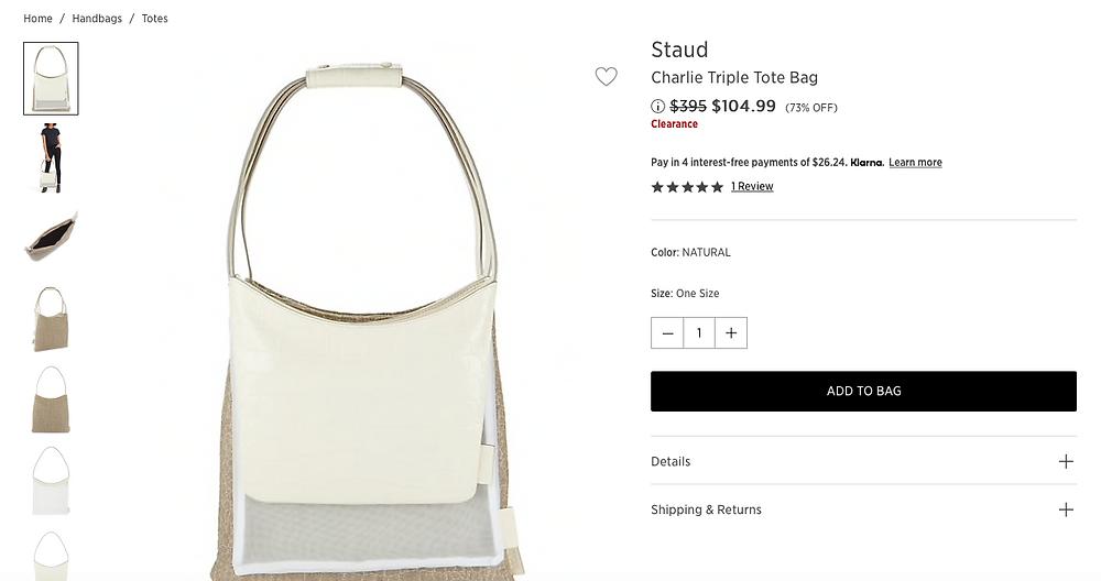 Staud Charlie Triple Tote Bag $104.99 (73% OFF)