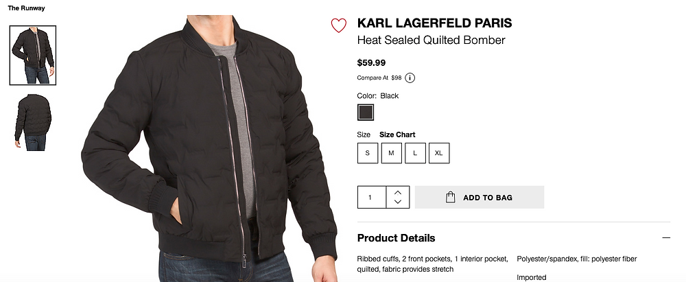 KARL LAGERFELD PARIS Heat Sealed Quilted Bomber  $59.99