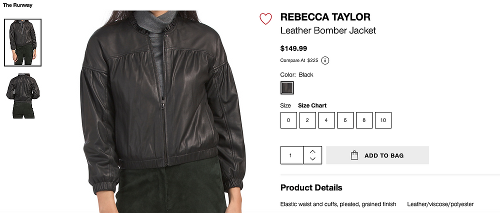REBECCA TAYLOR Leather Bomber Jacket  $149.99