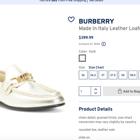 Burberry Shoes On Sale At Marshalls Starting At $299.99