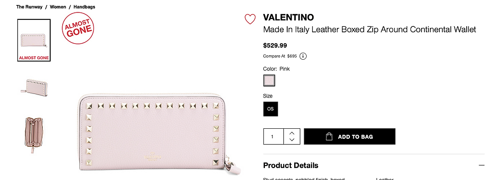 VALENTINO Made In Italy Leather Boxed Zip Around Continental Wallet $529.99