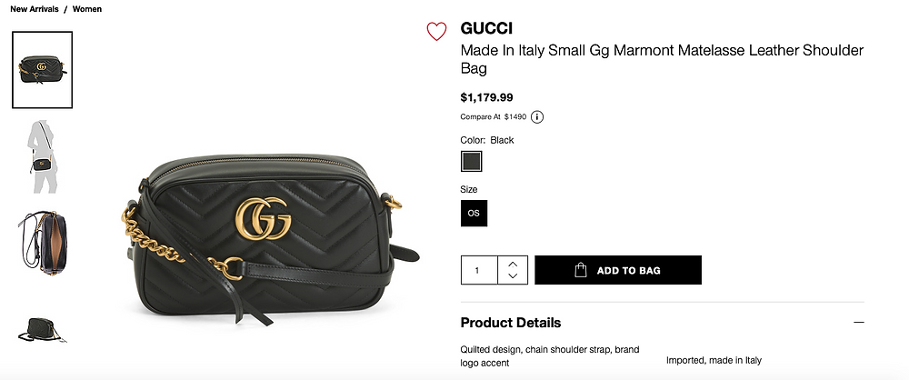 GUCCI Made In Italy Small Gg Marmont Matelasse Leather Shoulder Bag  $1,179.99