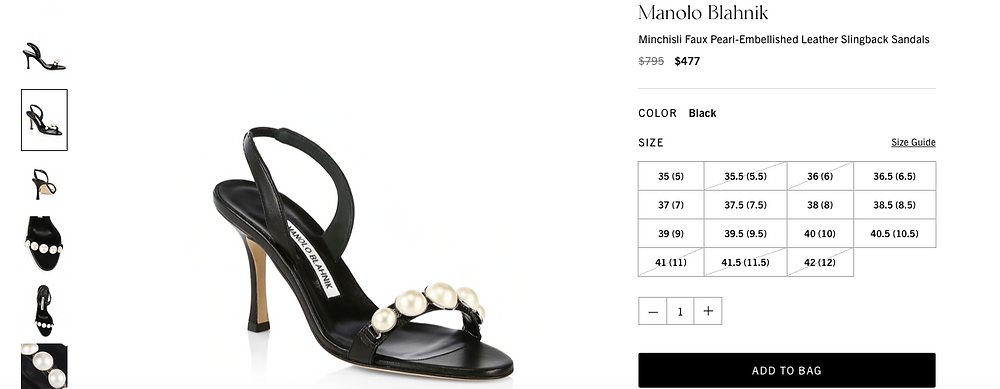 Manolo Blahnik Minchisli Faux Pearl-Embellished Leather Slingback Sandals Price reduced from $795 to $477