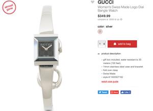 GUCCI Women's Swiss Made Logo Dial Bangle Watch