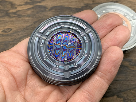 Flamed ZircuTi black Timascus TUNGSTEN GIGA-TRON Spinning Top for Stress relief