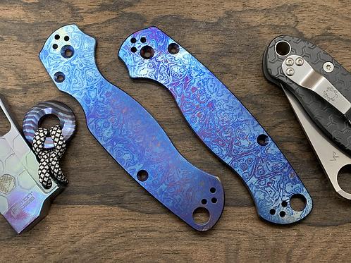ALIEN Heat engraved Titanium Scales for Spyderco Paramilitary 2 Knife Para 2