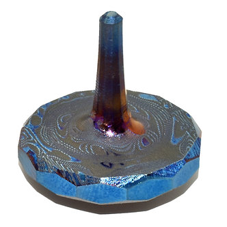 DAMASCUS ROSEN Titanium MetonBoss Spinning Top - Heat Colored Purple - Front View Tilted