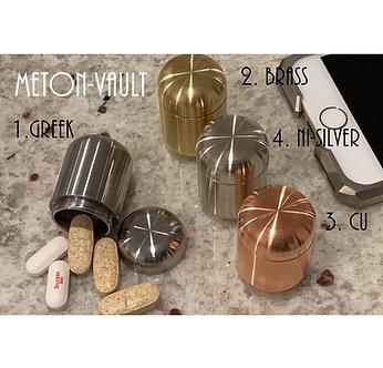 Meton-VAULT Pill Boxes: Copper, Brass, Greek Ascoloy & Nickel-Silver Waterproof