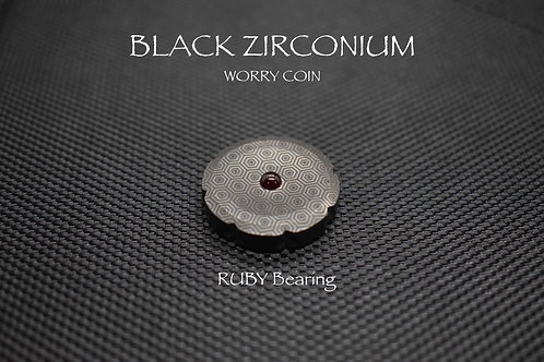 Black ZIRCONIUM Spinning Worry Coin with Ruby bearing MetonBoss Bottom