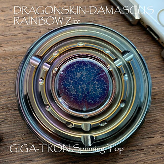 Flamed Rainbow DRAGONSKIN Damascus / Zirconium GIGATron Spinning Top Ruby