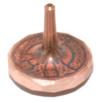 COPPER PEACE MetonBoss Spinning Top - Peace -  Front View Tilted