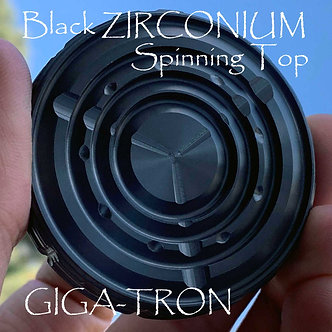 Black ZIRCONIUM GIGA-Tron Spinning Coin with Ruby Bearing for long spin times
