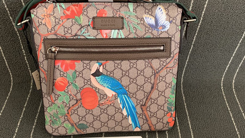 Gucci GG Supreme Tian Shoulder Bag Bird x Floral