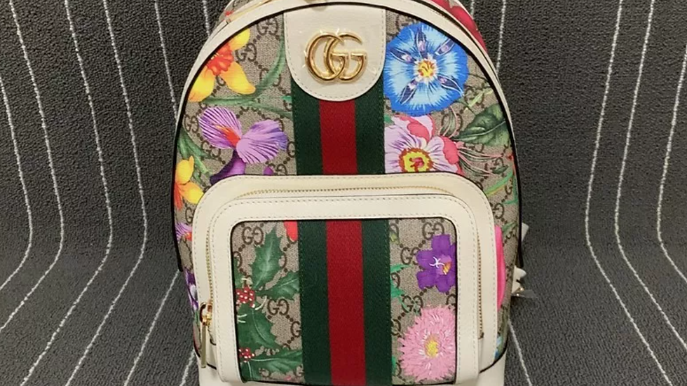 GUCCI Ophidia Flora Small Beige and White Gg Supreme Canvas Backpack