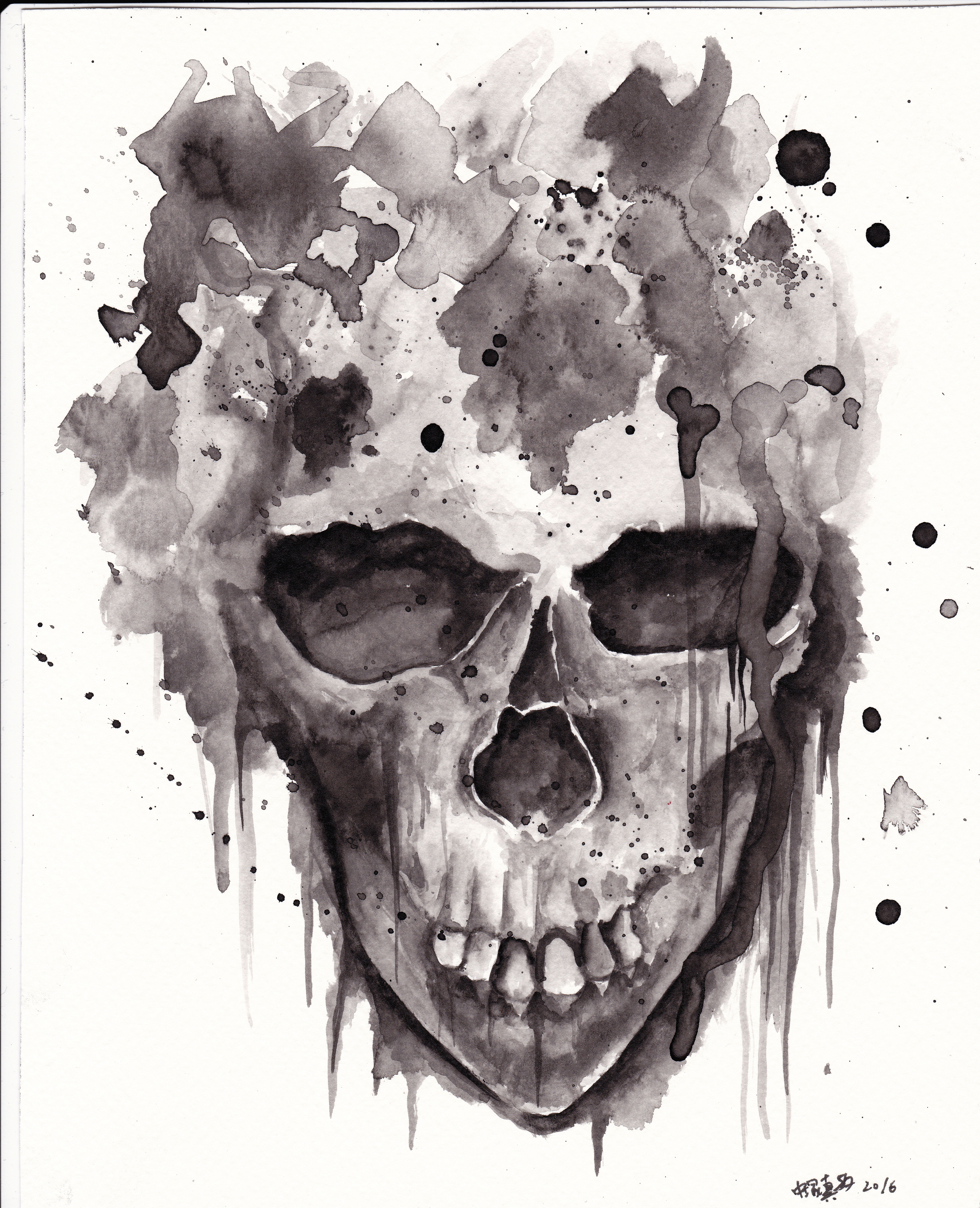 skullwatercolour