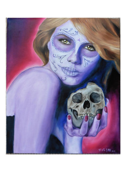 Day of the dead girl with skull
