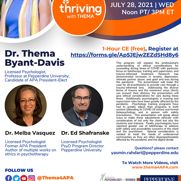 Ethical Considerations - Counseling During COVID w/Dr. Thema Bryant-Davis