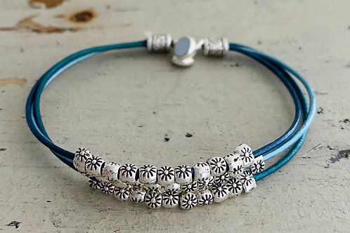 Starflower Leather Bracelet Kit Blue