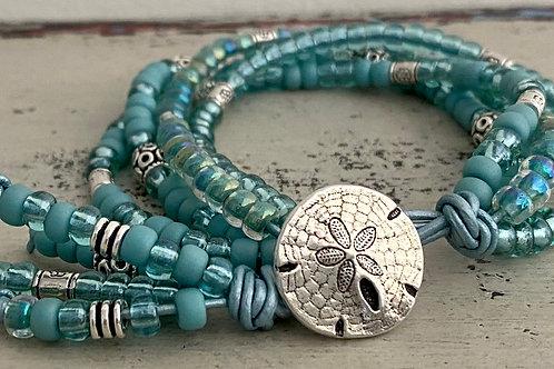 BoHo Leather Bracelet Kit Soft Aqua