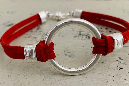 Endless Ring Microsuede Bracelet Kit Coral Red