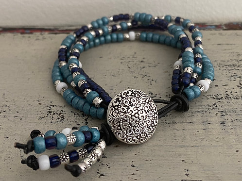 BoHo Leather Bracelet Kit Navy Turquoise