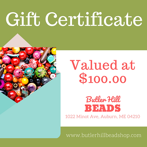 Gift Certificate Valued at $100