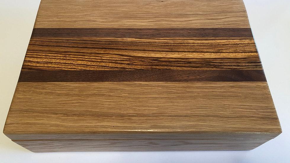 White Oak and Zebra-wood Pistol Display or Presentation Box