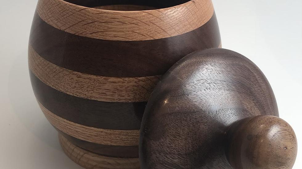 Lidded Walnut and White Oak Pot