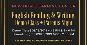 English Reading & Writing Demo Class + Parents Night