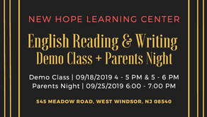 English Reading & Writing Demo Class + Parents Night