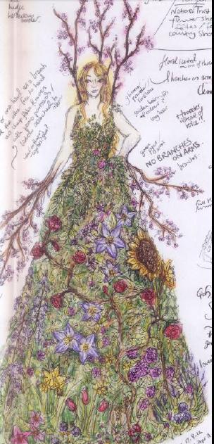 Flora the Flower Stilt Walker Design Illustration