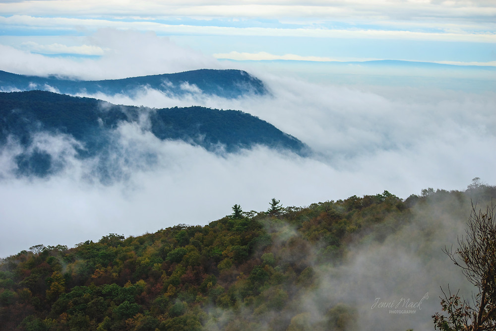 clouds enveloping the mountains