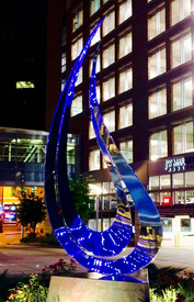 Polished Stainless Steel Sculpture for Artprize at J.W. Marriott Downtown Grand Rapids Michigan