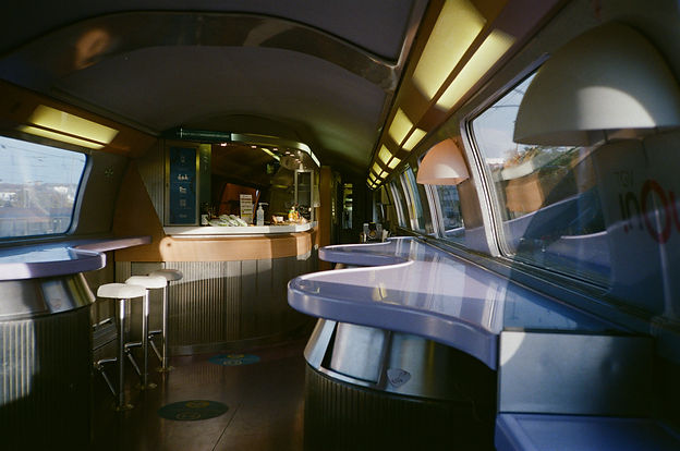 A restaurant wagon on a SNCF train between Paris and Frankfurt. August 20'.