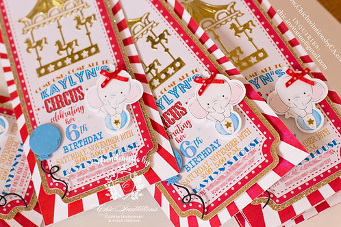 Circus carnival invitation, handmade circus invitation, carnival invite, custom