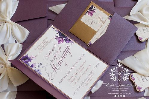 Wedding Invitation, Handmade Invitation, Purple and Gold Invitation