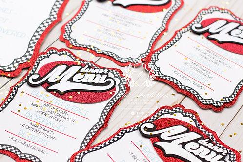 Retro Card, Retro menu, handmade menu, custom menu, retro invitation