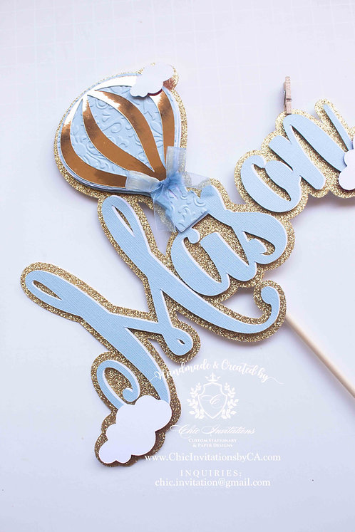 hot air balloon cake topper, custom cake topper, baby shower