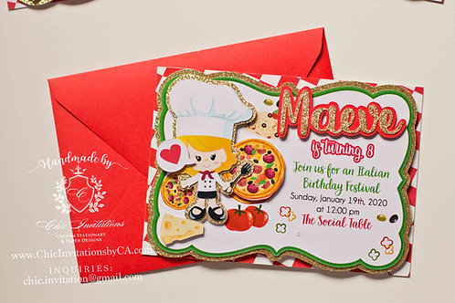 Italian handmade invitation, chef invitation, birthday party invitation