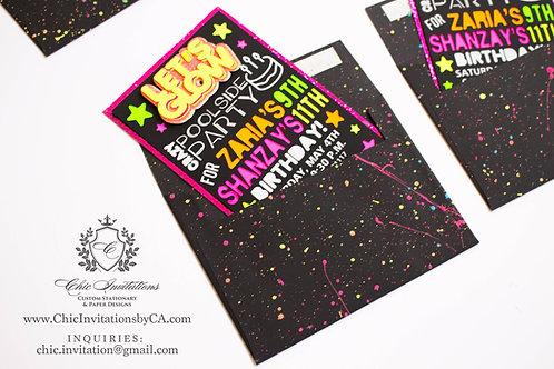 Handmade neon invitation, splash invitation, neon invitation, black envelopes