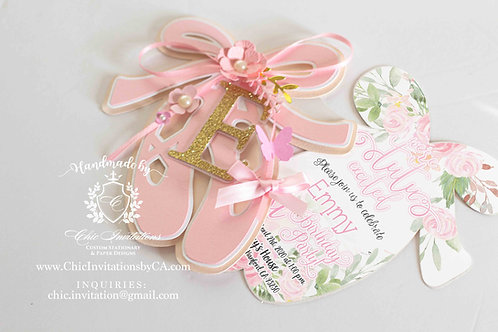 Ballerina handmade invitation, ballerina shoe , baby shower, baby shower