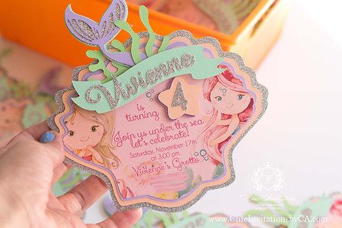 Mermaid Invitation, Shell 3D Invitation,Pastel Mermaid, Handmade Mermaid