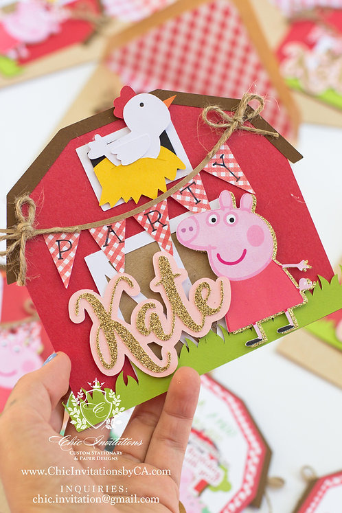 Pepa Pig Handmade Invitation, Pepa pig barnyard handmade invitation, farm invite