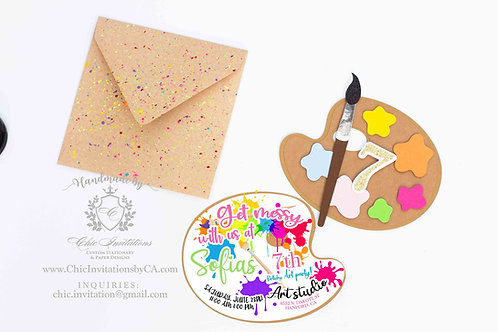 Party Art handmade invitation, paint palette handmade invitation,